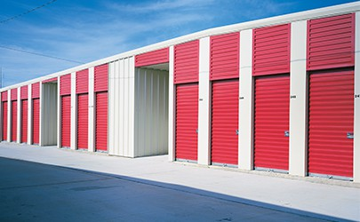 modern commerical facility with overhead doors